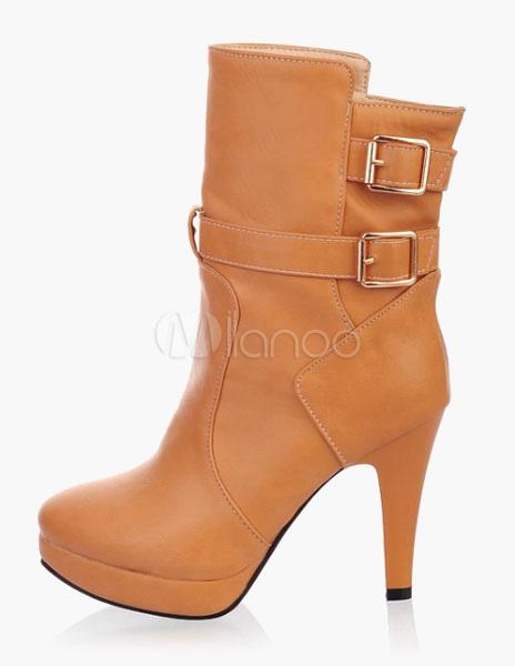 Platform Buckle Almond Toe Stiletto Heel Booties