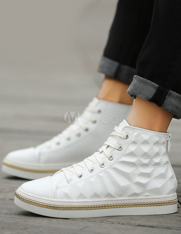 Cosy PU Leather Round Toe High-top Mens Sneakers
