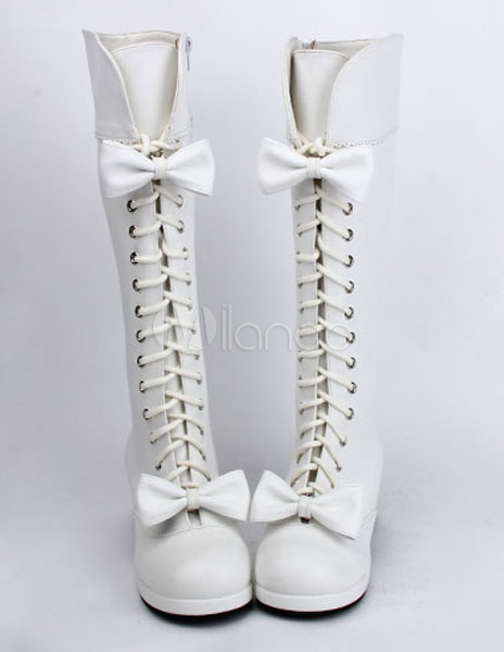 Buy Sweet Matte White Lolita Boots Square Heels Shoelace Bows Decor for $108.99 in Milanoo store
