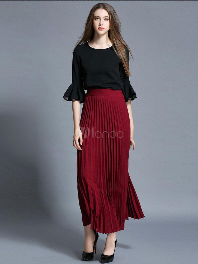 e31c9567fa Vestido algodón lino larga falda plisada para las mujeres - Milanoo.com