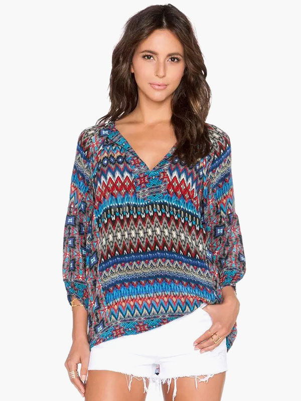 Multi Color 3/4 Length Sleeves Printed Blouse
