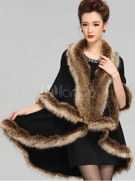 Black Poncho Knitwear Women Faux Fur Coat Shawl Collar Sweaters Oversized Sweater
