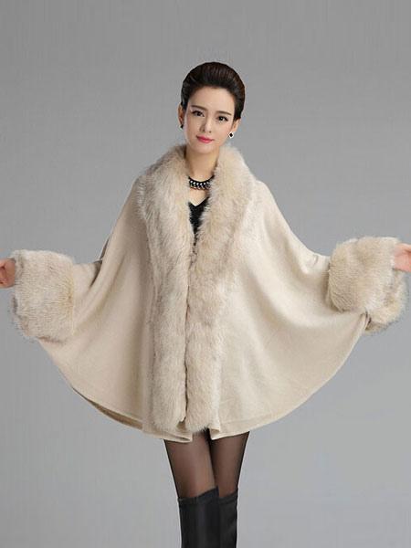 Poncho Knitwear Women Oversized Sweater Faux Fur Coat Shawl Collar Sweaters