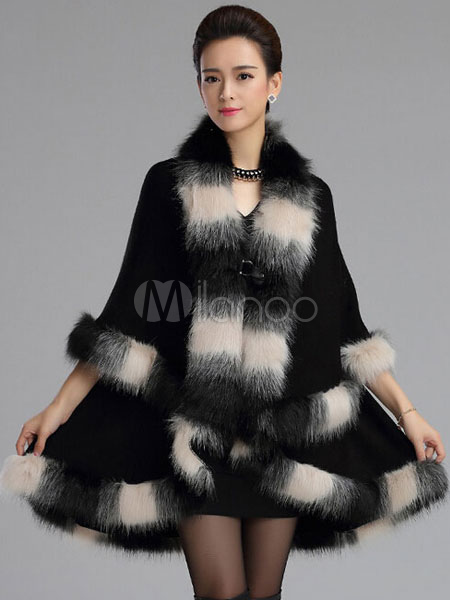 Luxury Faux Fox Fur Oversized V-Neck Poncho Coat For Woman Cheap clothes, free shipping worldwide