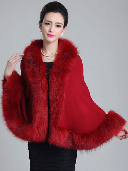 Red Poncho Knitwear Women Oversized Sweater Faux Fur Coat Shawl Collar Sweaters Cheap clothes, free shipping worldwide