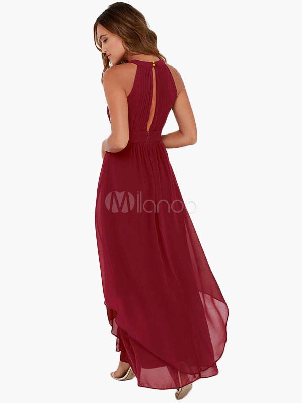 0e182c043a5a4 Robe longue bordeaux en chiffon coupe asymétrique - Milanoo.com