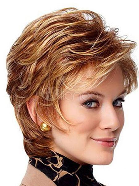 8ef963326145 ... Capelli umani parrucca da donna marrone ondulato con lato spazzato  frangetta-No.2 ...