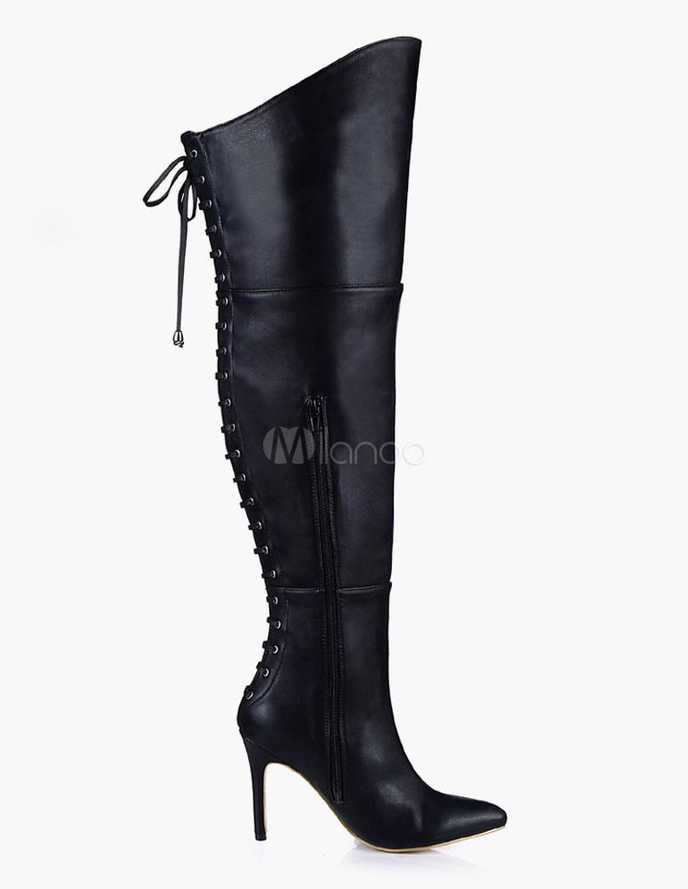 Botas altas de muslo puntiagudas Toe cuero PU sobre botas de rodilla Dk7i3PZrpV
