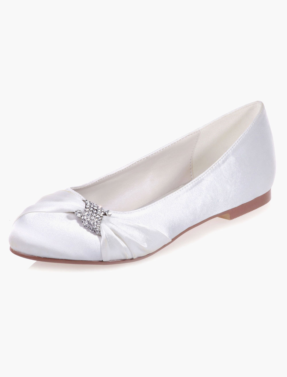 Buy Simple Slip-On Round Toe Rhinestones Satin Flats For Bride for $54.80 in Milanoo store