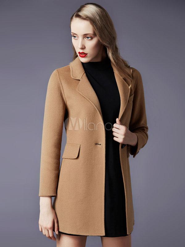 2cdffaa1c93f5 Bavero Slim Fit in lana misto cappotto donna - Milanoo.com