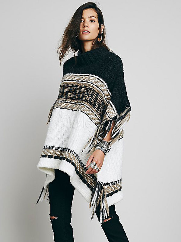 Crewneck Half Sleeves Woven Asymmetrical Fringed Poncho Cheap clothes, free shipping worldwide