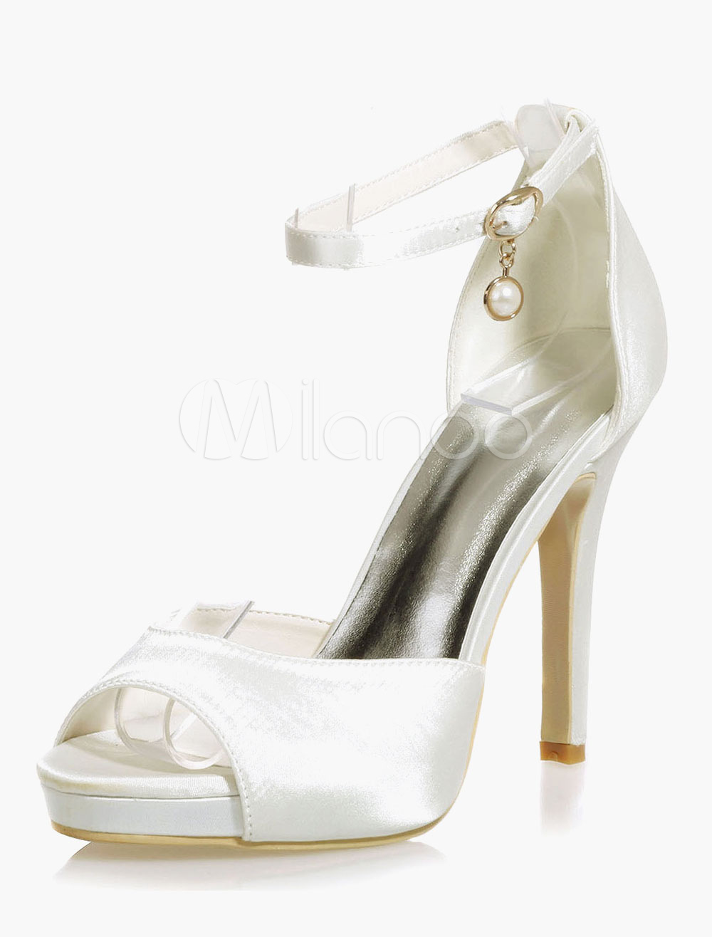 Gorgeous Platform Pearls Round Toe Satin Evening And Bride's Sandals