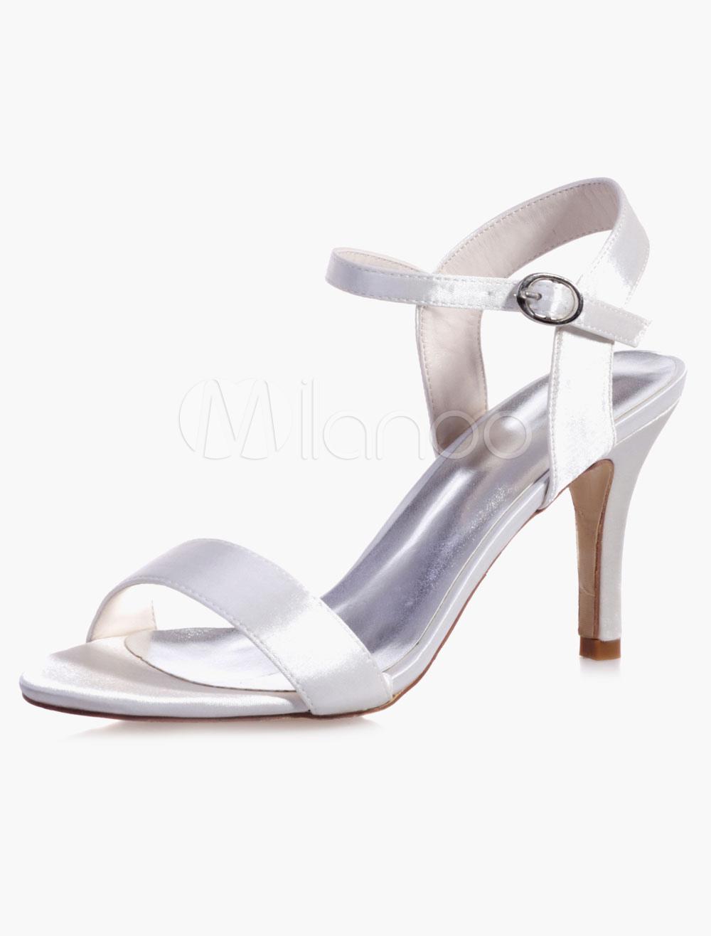 Milanoo / Elegant Ankle Strap Round Toe Evening And Bridal Sandals