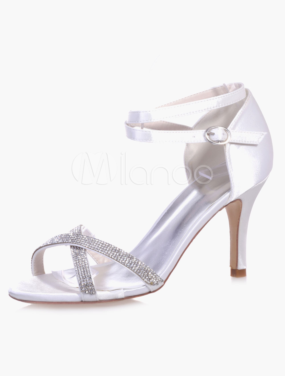 Beautiful Rhinestones Ankle Strap Round Toe Evening & Bridal Sandals