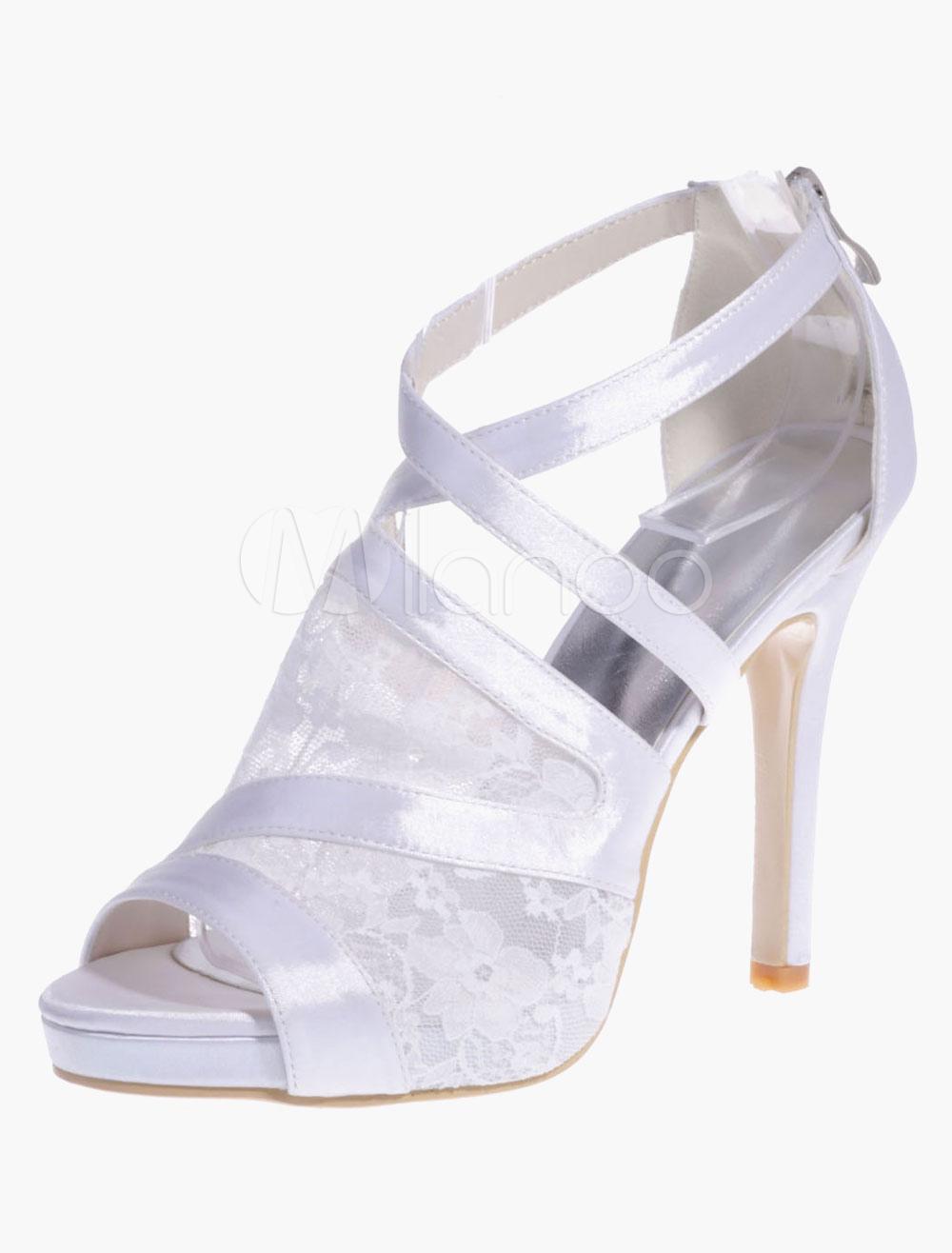 Elegant Round Toe Lace Platform Satin Evening & Bride's Sandals