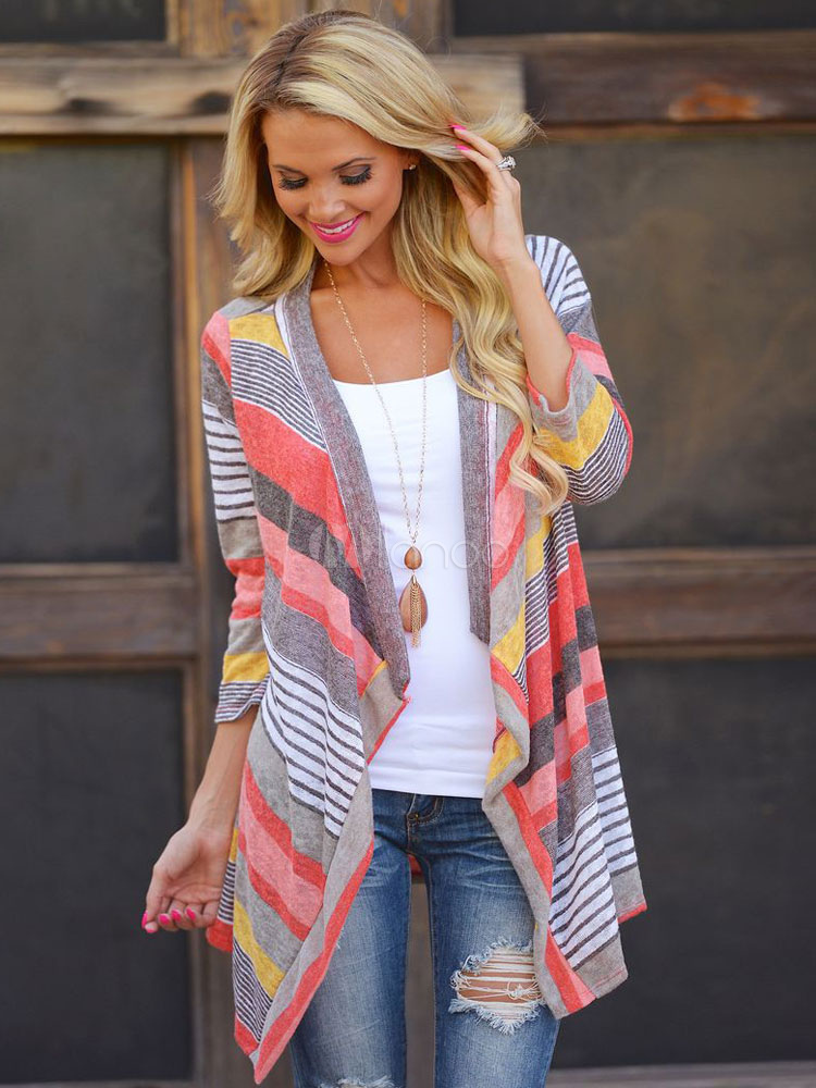 Cotton Blend Stripes Three-quarter Length Sleeves Asymmetrical Cardigans Cheap clothes, free shipping worldwide