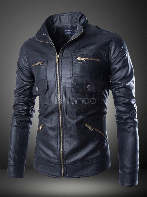 Cool Man's Slim Fit Pu Leather Motorcycle Jacket