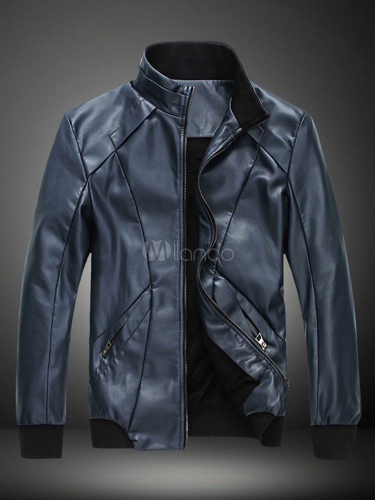 Man's Slim Fit Simple Stand Collar Leather Jacket