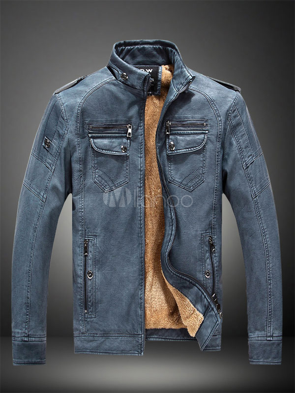 Buy Men Leather Jacket Winter Jacket Blue Stand Collar Long Sleeve Short Jacket for $50.34 in Milanoo store