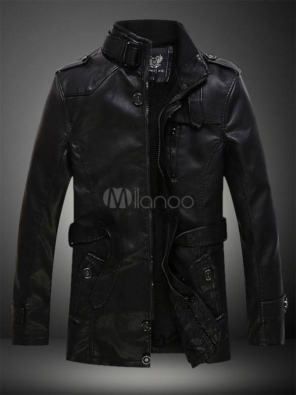 Herren 2020 Moto Jacke Stehkragen Belted Metal Buckle Lederjacke