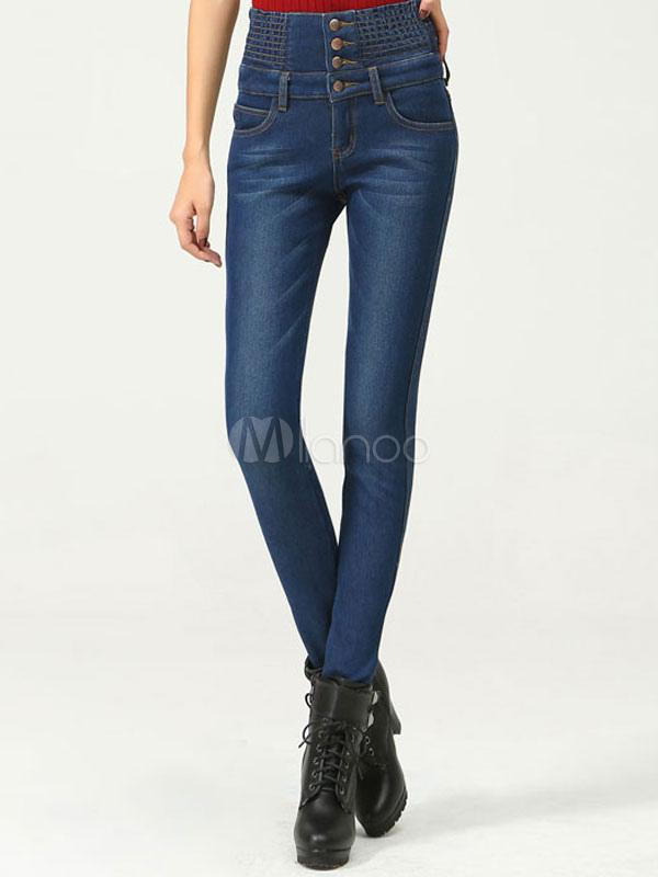 2e10a70ba Pantalones de mezclilla botones de cintura alta casual - Milanoo.com