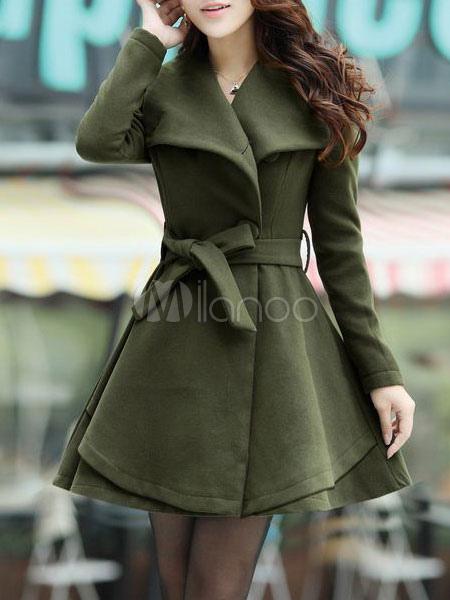 low priced 382ec 5112d Misto di lana maniche lunghe donna svasato con cintura cappotto