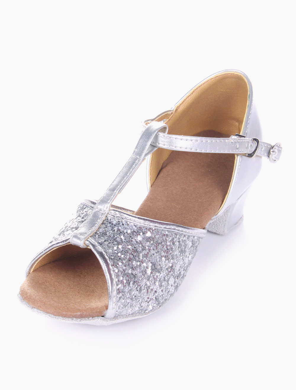 Glitter Ballroom Dance Shoes 2018 Open Toe Soft Sole Latin Dancing Shoes For Kids