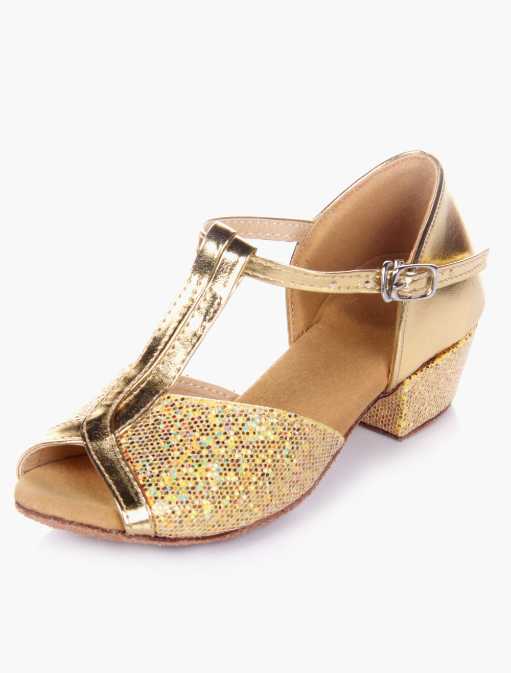 Latin Dancing Shoes 2018 Blond Peep Toe T Type Dance Shoes Soft Sole Ballroom Shoes For Kids