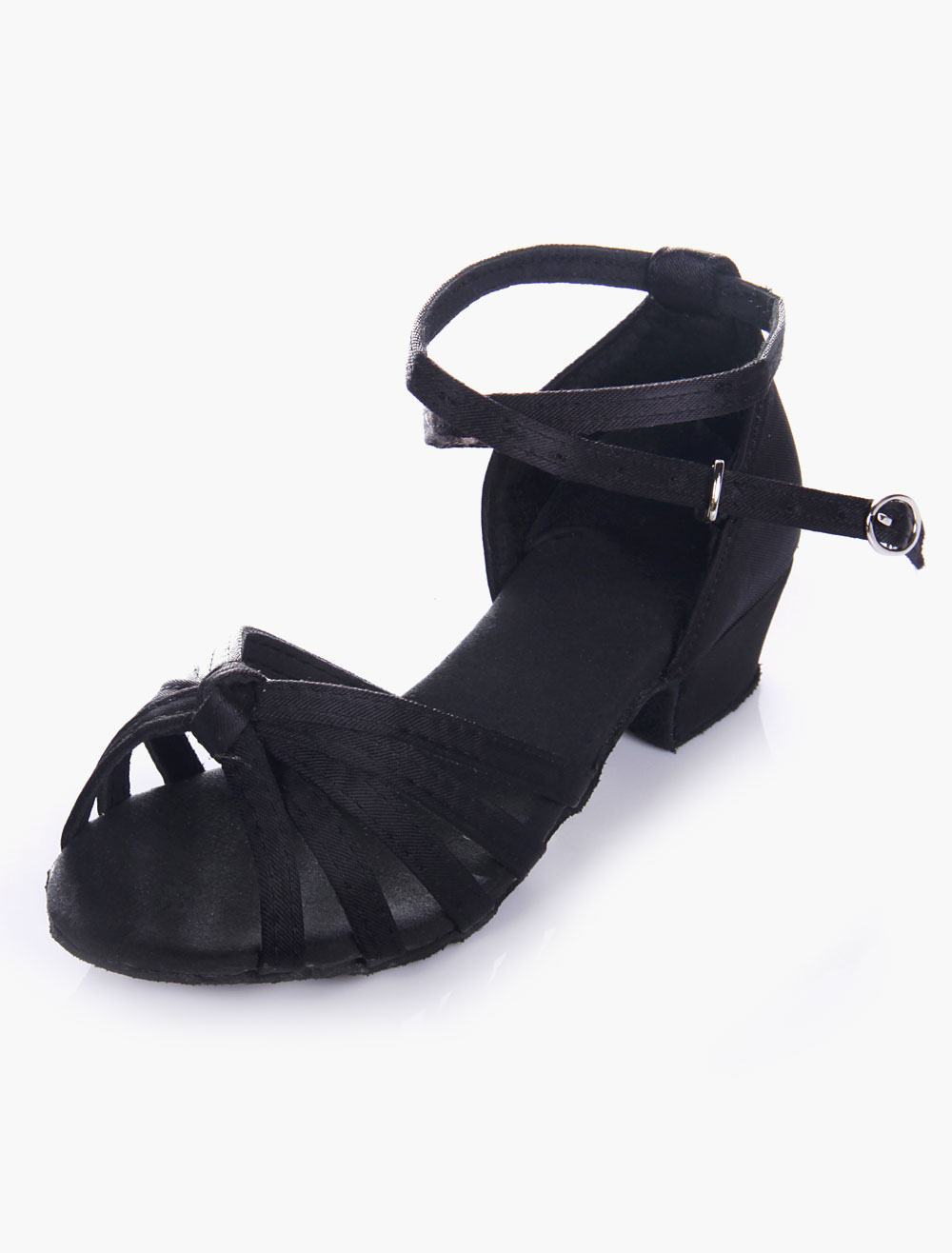 Quality Black Soft Sole Open Toe Satin Ballroom Shoes For Kids
