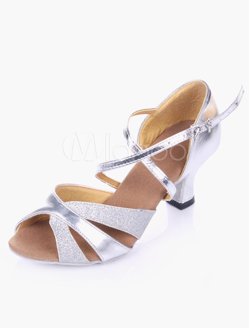 Silver Dance Shoes Glitter Ballroom Shoes Open Toe Criss Cross Latin Dancing Shoes
