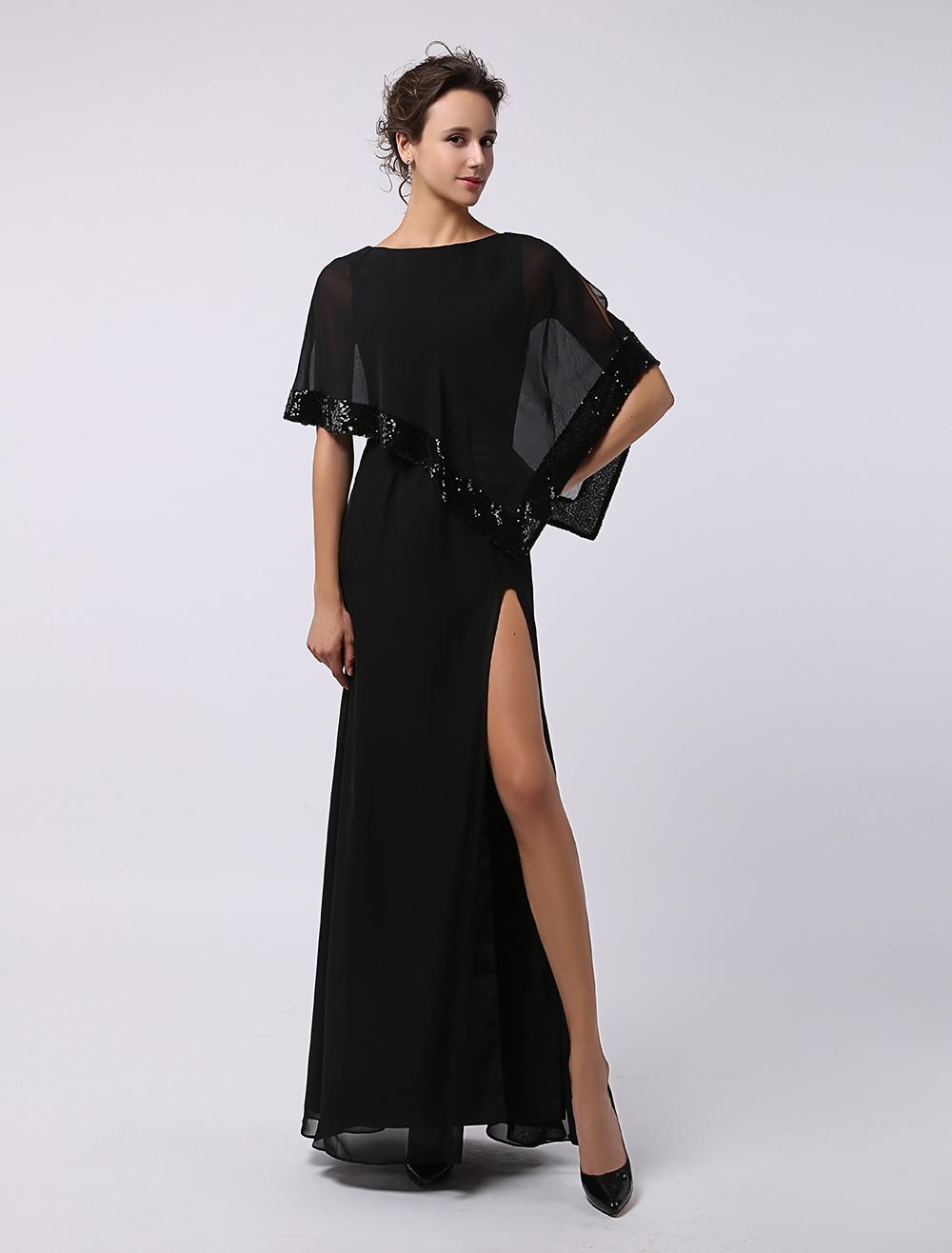 Side Split A-Line Jewel Neck Sequined Chiffon Bridal Mother Dress