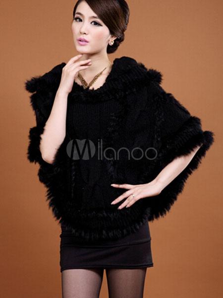 56e54627bd9 Chaqueta con capucha de piel en capas de mezcla de algodón de pelo de conejo  Poncho ...
