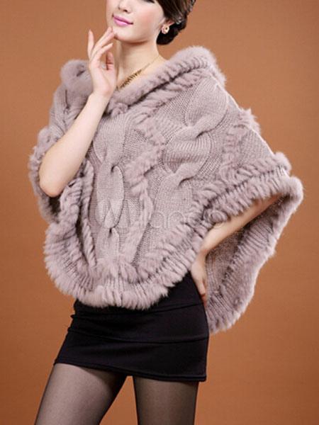 389277759b9 ... Chaqueta con capucha de piel en capas de mezcla de algodón de pelo de  conejo Poncho