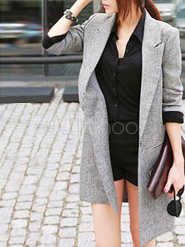 Milanoo / Stylish Turndown Collar Pockets Slim Fit Cotton Blend Women's Blazer