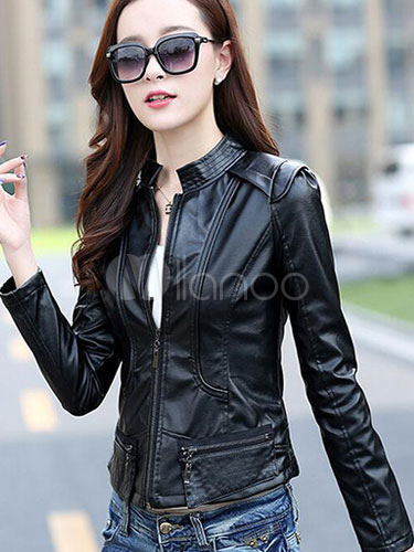 Stand Collar Slim Fit Zipper Motocycle Jacket