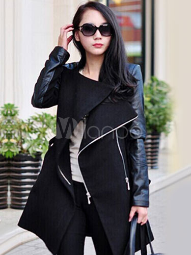 Trench Women Coat Black Leather Jacket Wrap Coat Zippered Long Sleeve Winter Coat Cheap clothes, free shipping worldwide