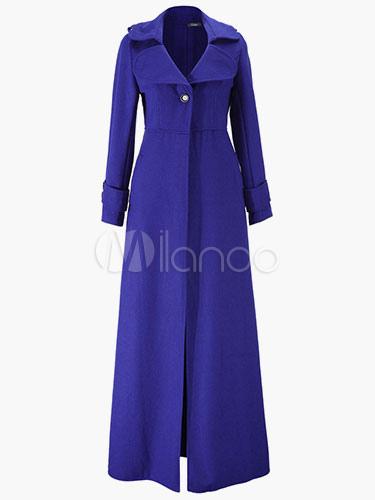 Turndown Collar Pockets Woman's Wool Blend Long Robe Coat 2018