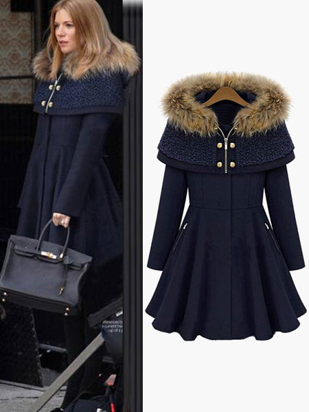 Trench Women Coat Faux Fur She...