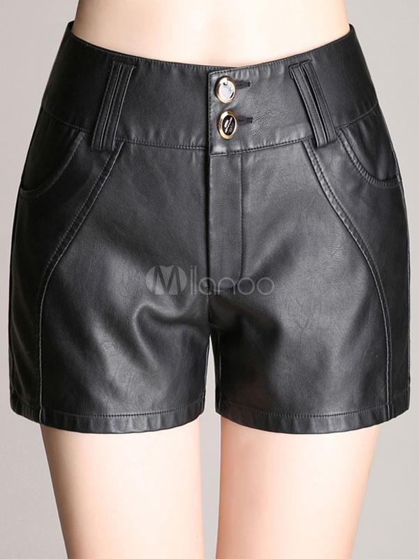 02a0c6f1e9 Chic short pour femme en simili cuir noir noir à taille naturelle-No.1 ...