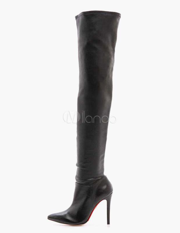 Botas altas de muslo Botas de tacón alto con punta negra sobre las rodillas EuWKjkvKY