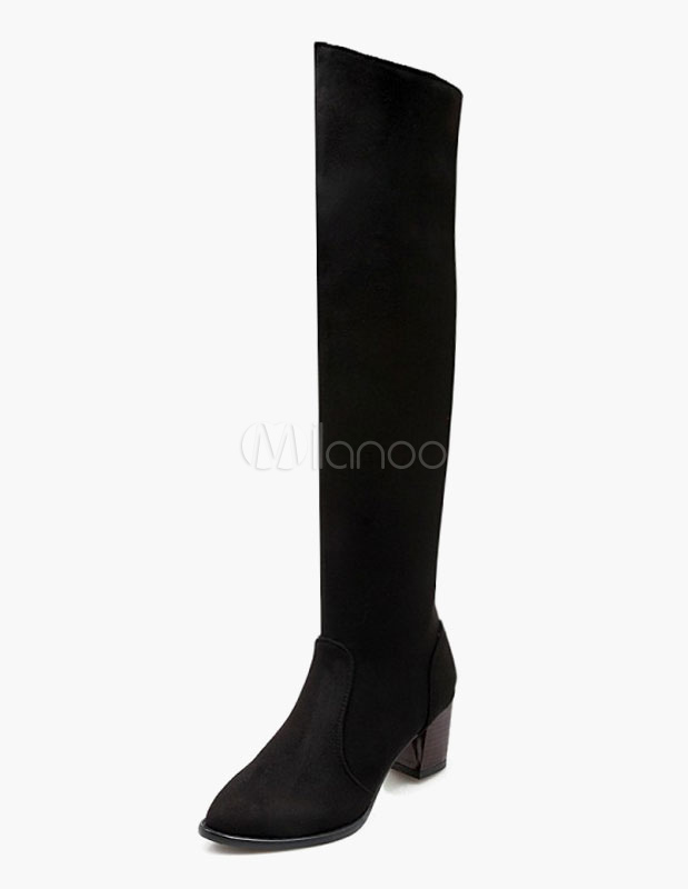 Round Toe Chunky Heel Micro Suede Upper Causal Knee Length Boots