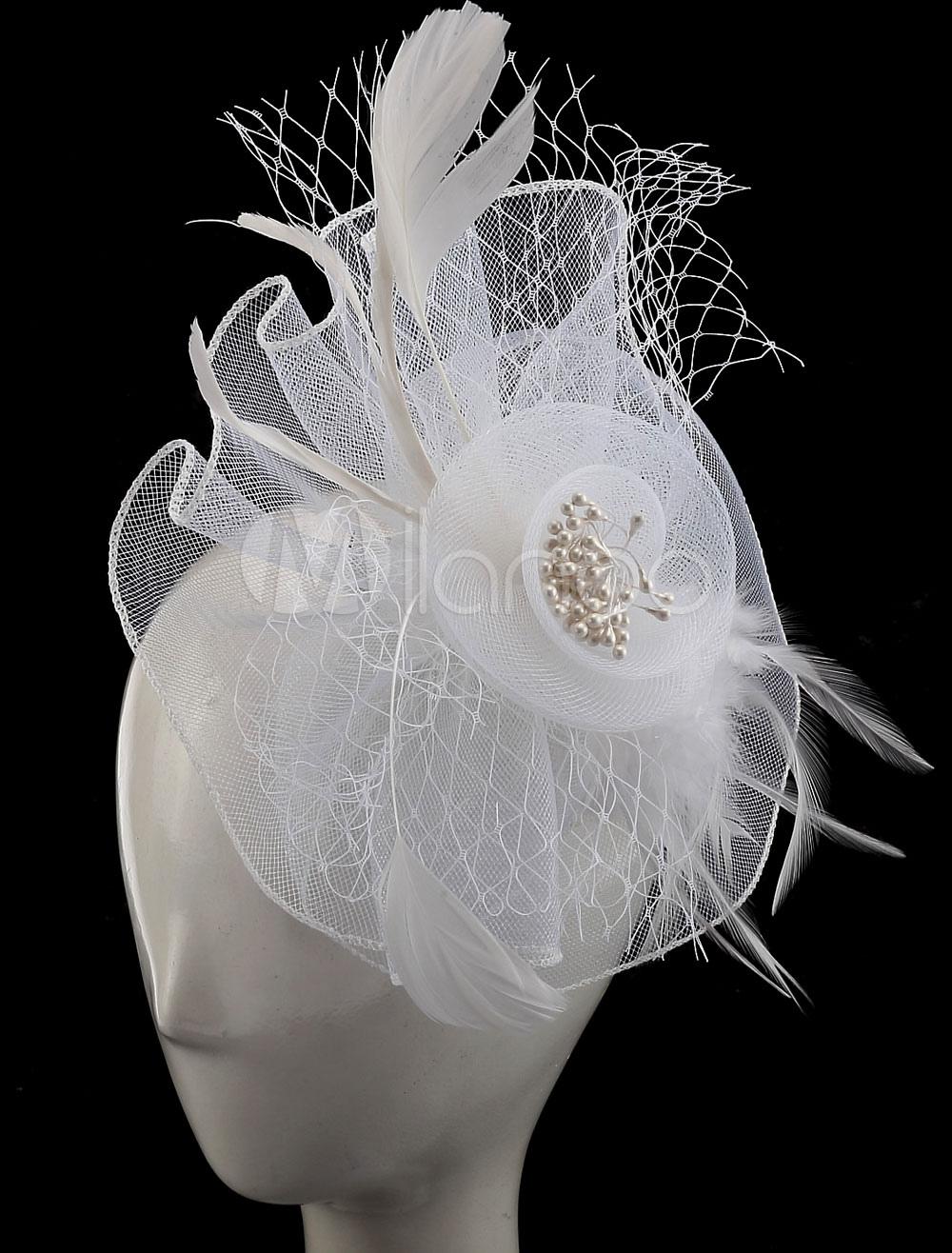 White Feather Bridal Birdcage Veil