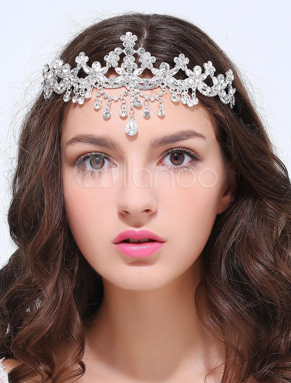 Silver Metal Crown Wedding Hair Jewelry