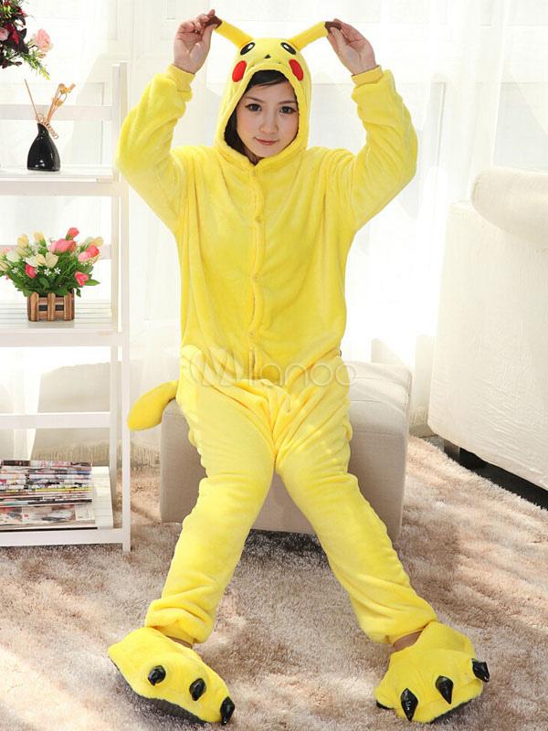 Kigurumi Pajamas Pikachu Onesie Pokemon For Adult Flannel Yellow Cute Anime Cosplay Costume Halloween