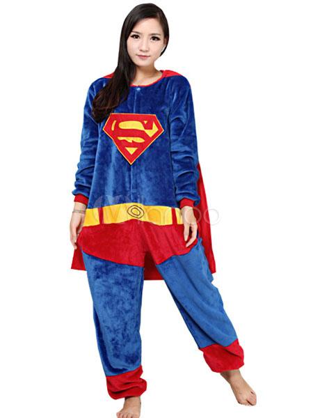 Kigurumi Pigiama Supereroe Superman Onesie Flanella Womens Cosplay