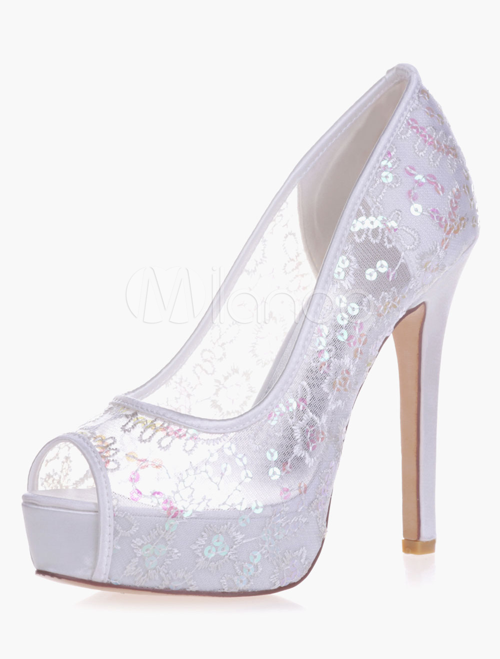 Sequins Platrorm Slip-On Peep Toe Lace Elegant Evening And Bride's Sandals
