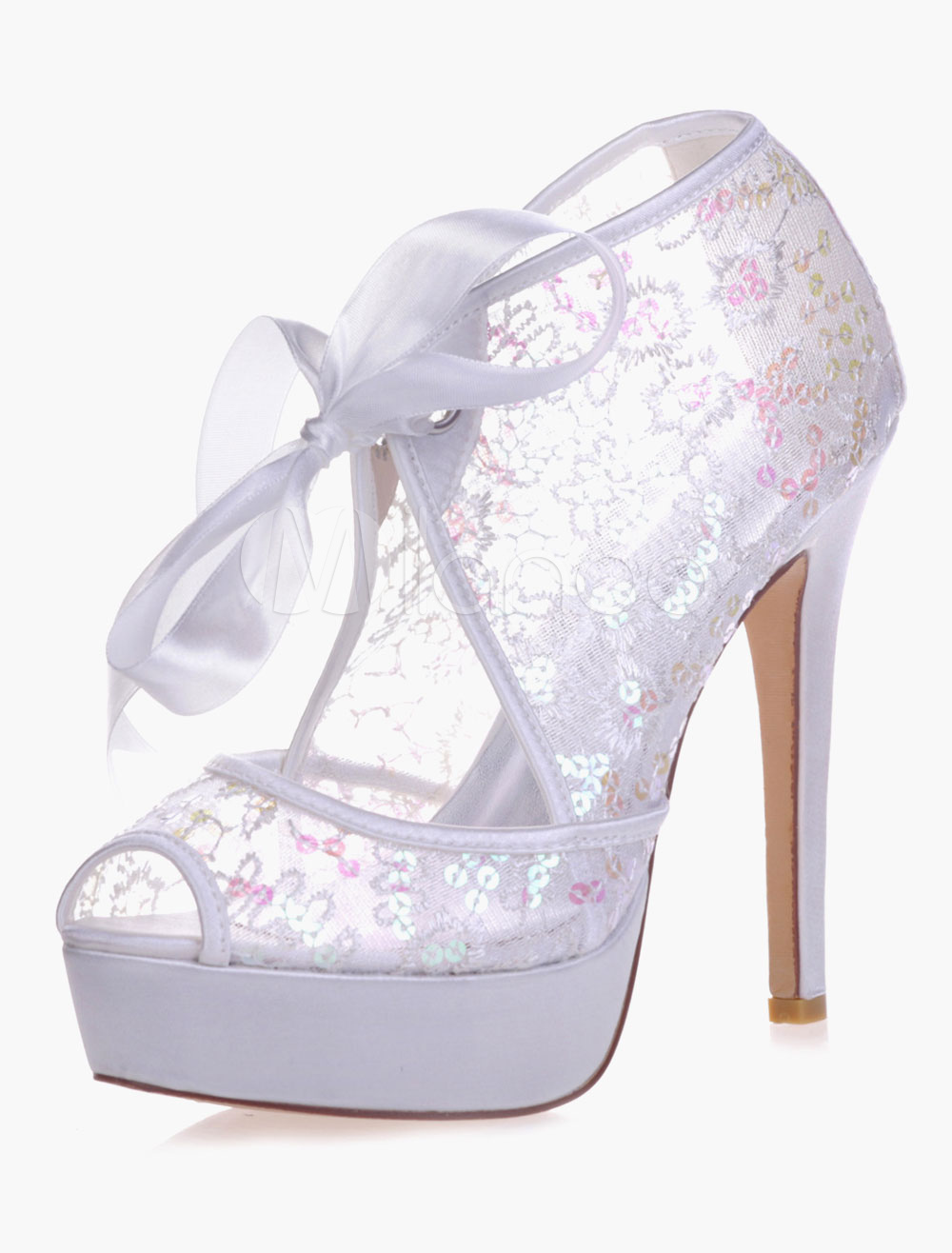 Buy Sparkling Platrorm Sequins Peep Toe Lace Evening And Bridal Sandals for $55.79 in Milanoo store