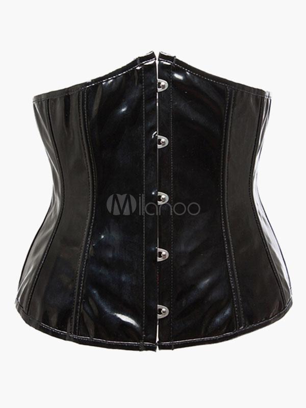 Black Vintage Grommets Faux Leather Women's Slim Fit Bustier