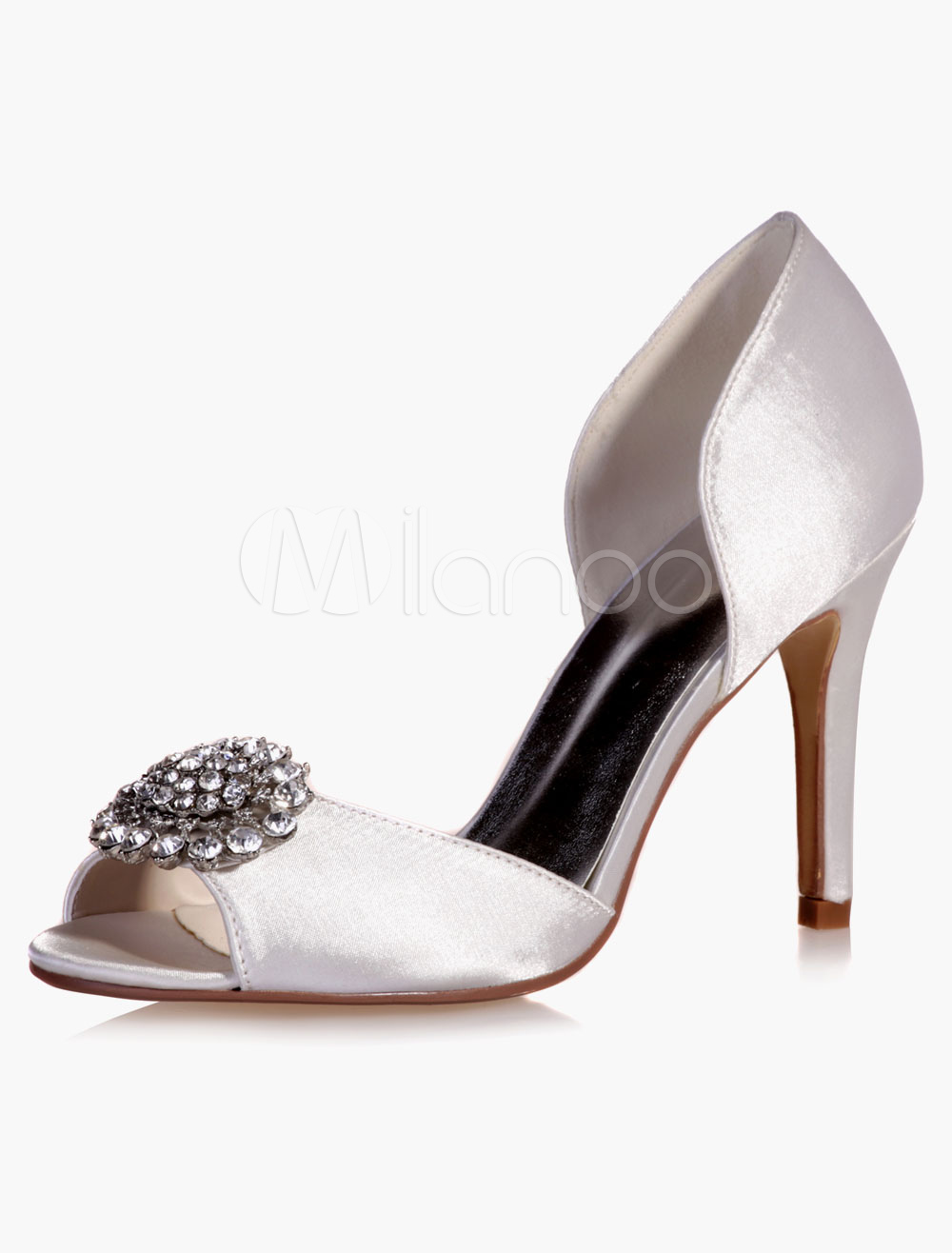 Buy Charming Rhinestones Peep Toe Satin Evening And Bride's Sandals for $49.39 in Milanoo store