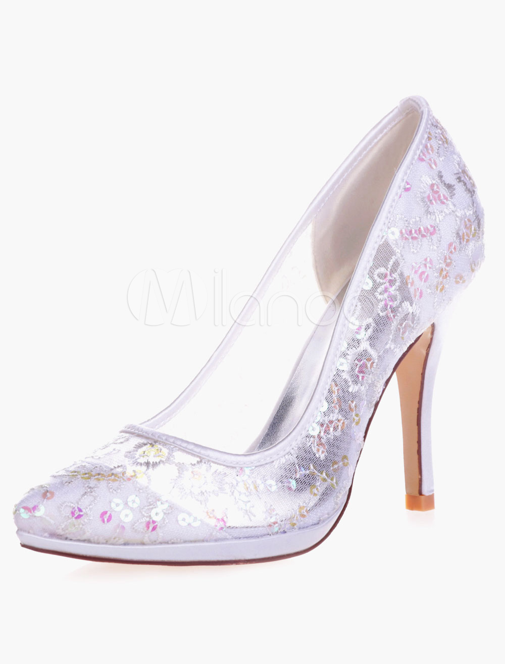 Buy Elegant Lace Sequins Pointed Toe Pumps For Bride for $49.39 in Milanoo store